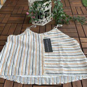 Paper Crane Blouse Sleeveless Stripes Size L